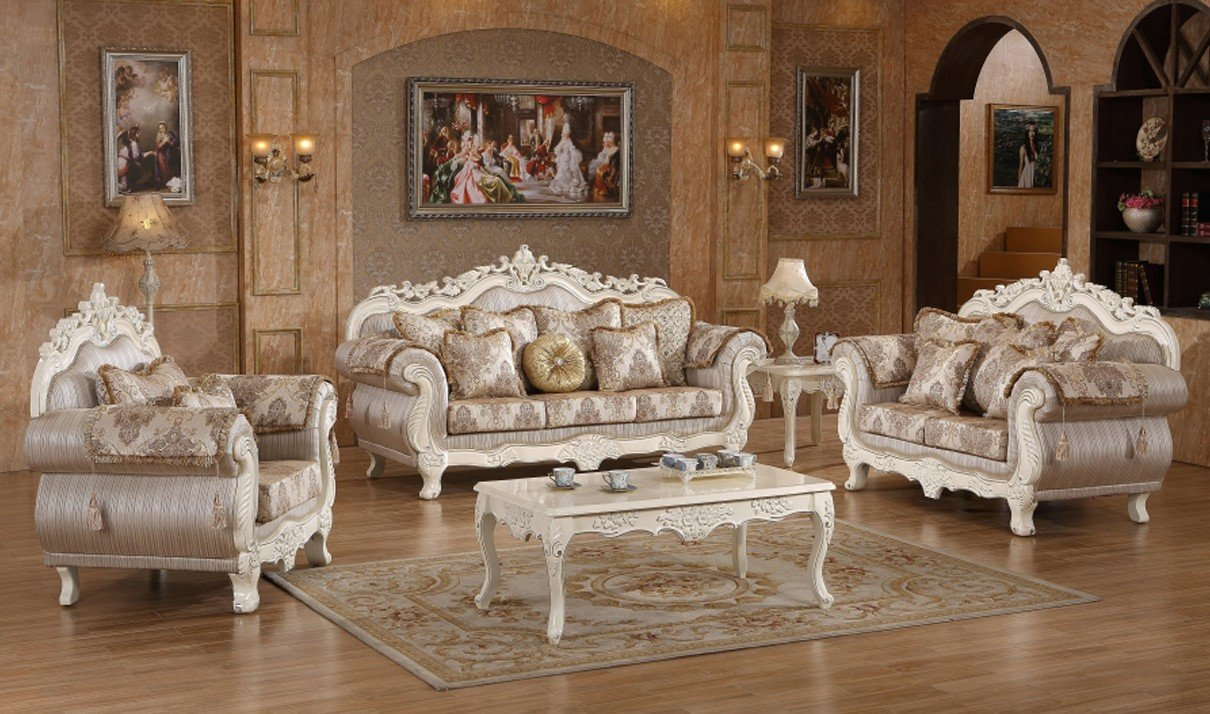 White Traditional Living Room 691 Serena Traditional Living Room Set In Pearl White by