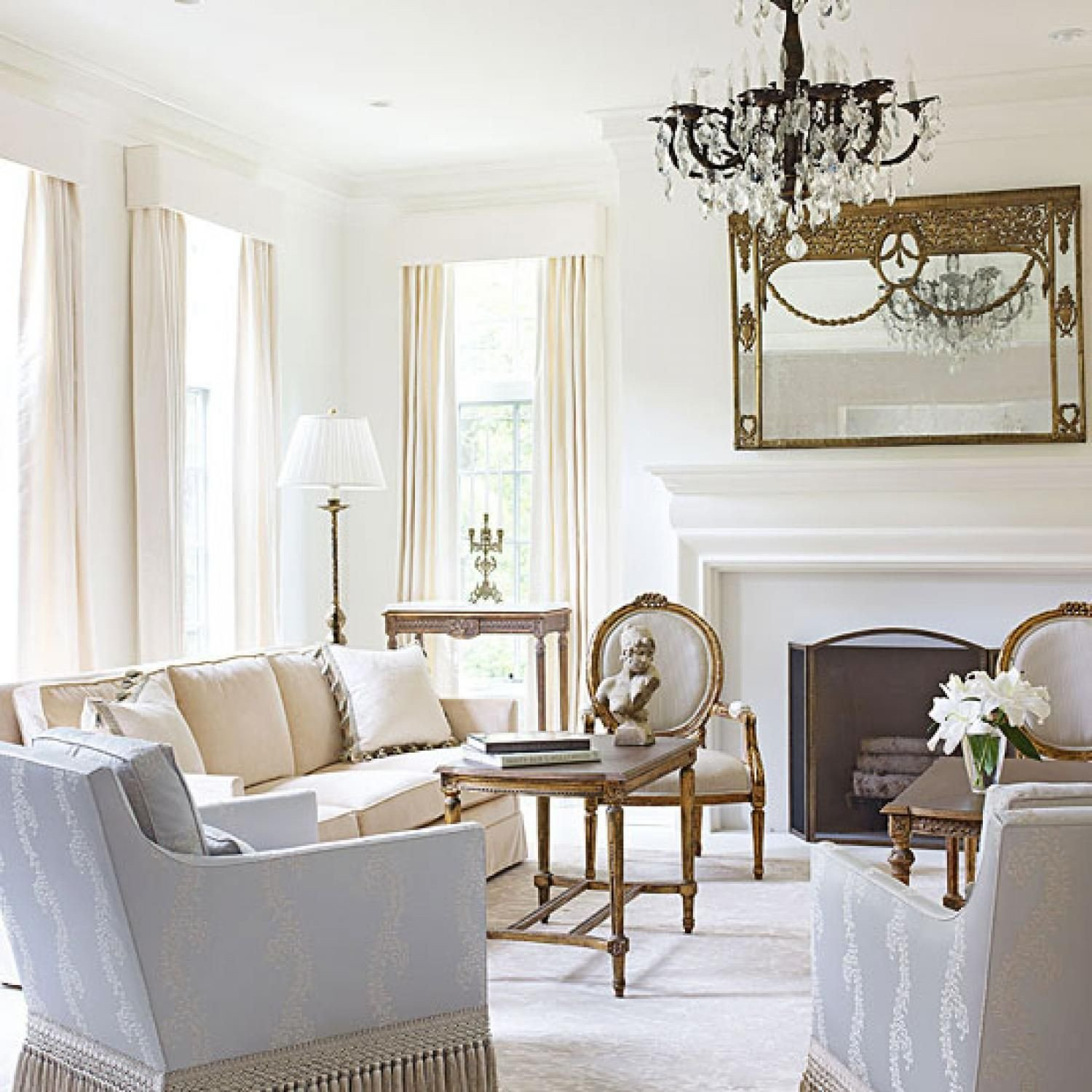 White Traditional Living Room Bright White and Inviting Family Home In 2019