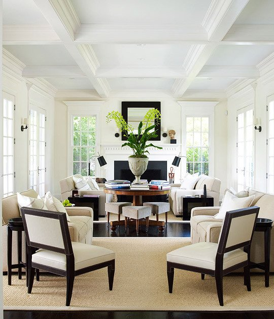 White Traditional Living Room Dazzling Rooms Featuring Black and White