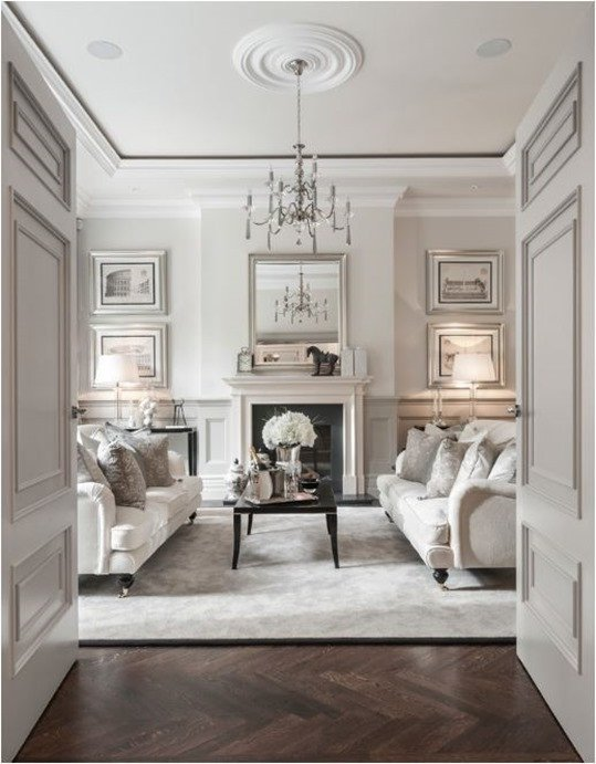 White Traditional Living Room Decorating with White
