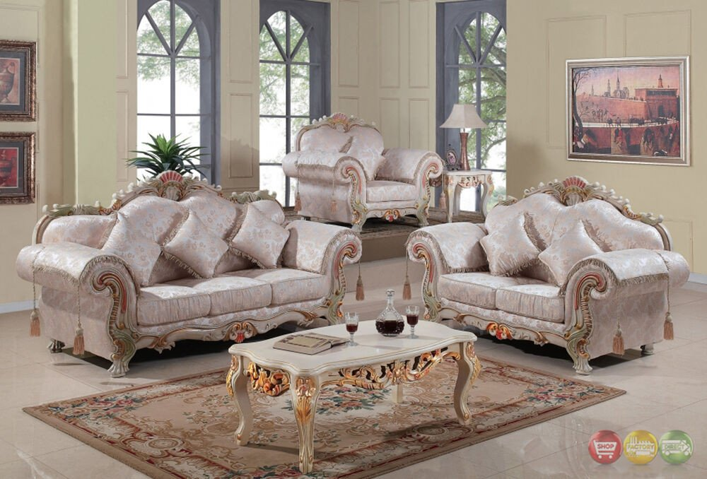 White Traditional Living Room Luxurious Traditional Victorian formal Living Room Set