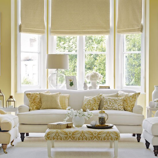 White Traditional Living Room Traditional Living Room with Old Gold and White Colour