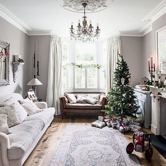 White Traditional Living Room Traditional White Festive Living Room