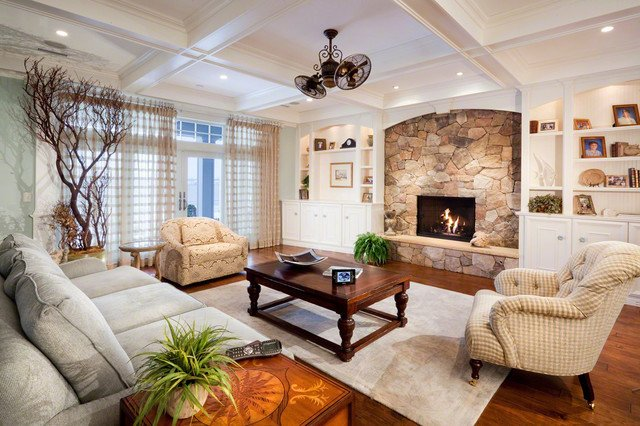 White Traditional Living Room White Room with Stone Fireplace