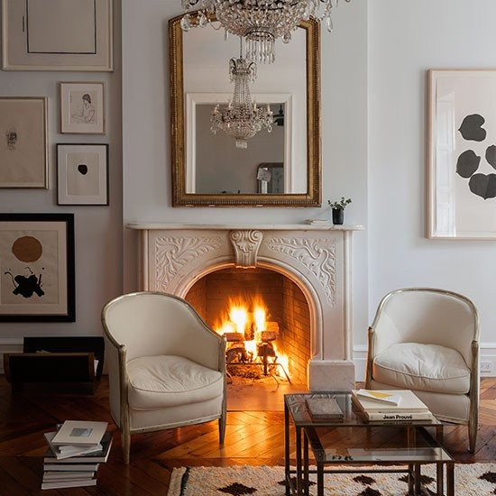 White Traditional Living Room White Traditional Living Room with Fireplace
