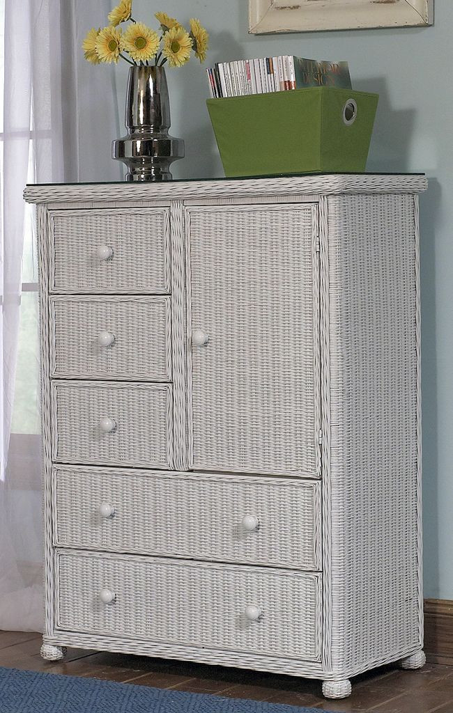 White Wicker Bedroom Furniture 5 Drawer 1 Door Wicker Chest Wicker Paradise