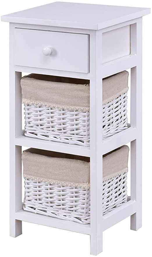 White Wicker Bedroom Furniture End Table Bedside Nightstand Chest Cabinet Bedroom Furniture with Drawer and Two Wicker Rattan Baskets White