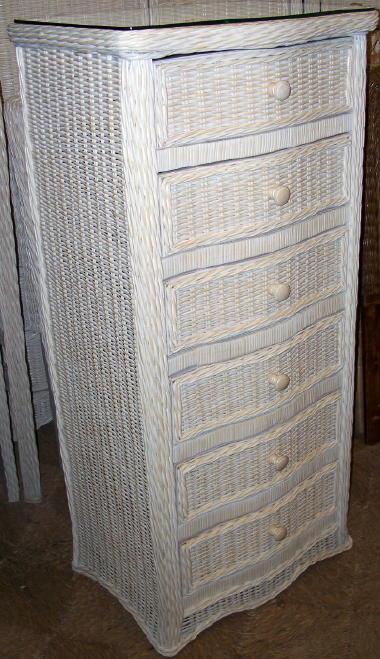 White Wicker Bedroom Furniture Florentine 6 Drawer Wicker Lingerie Dresser [1095 Lc
