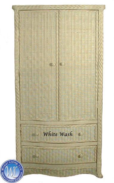 White Wicker Bedroom Furniture Florentine Wicker Armoire