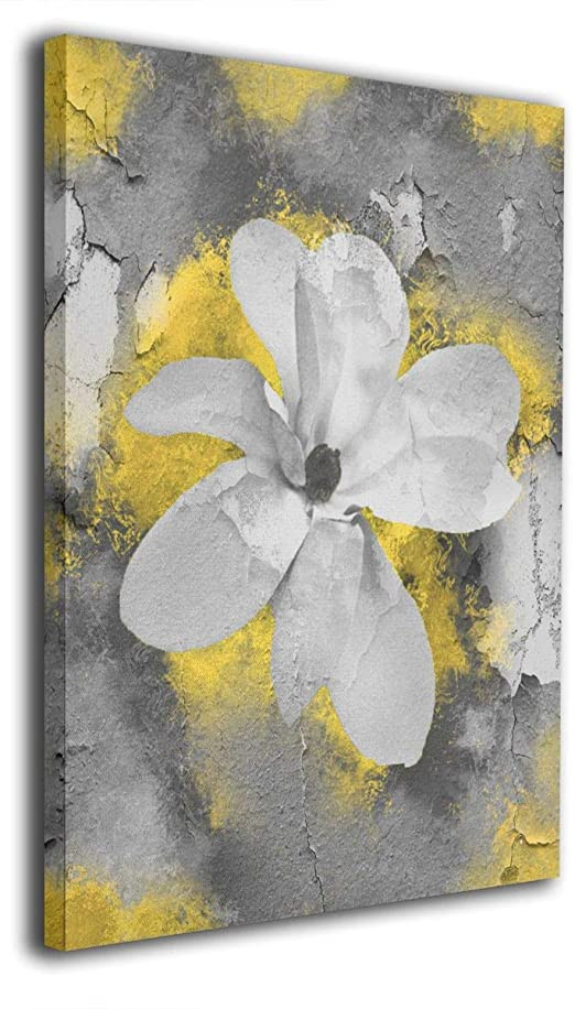 Yellow and Gray Bedroom Decor Ale Art Yellow Gray Modern Abstract Floral Wall Art for Living Room Bedroom Canvas Wall Art Decor Framed Canvas Artworks Prints Giclee Ready to Hang