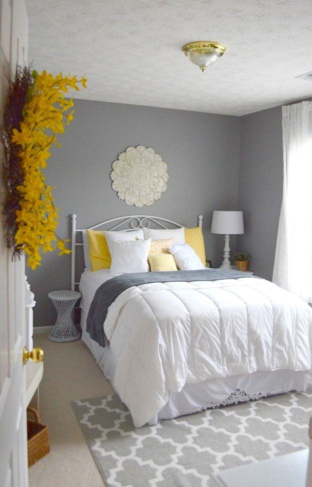 Yellow and Gray Bedroom Decor Guest Bedroom Gray White and Yellow Guest Bedroom with