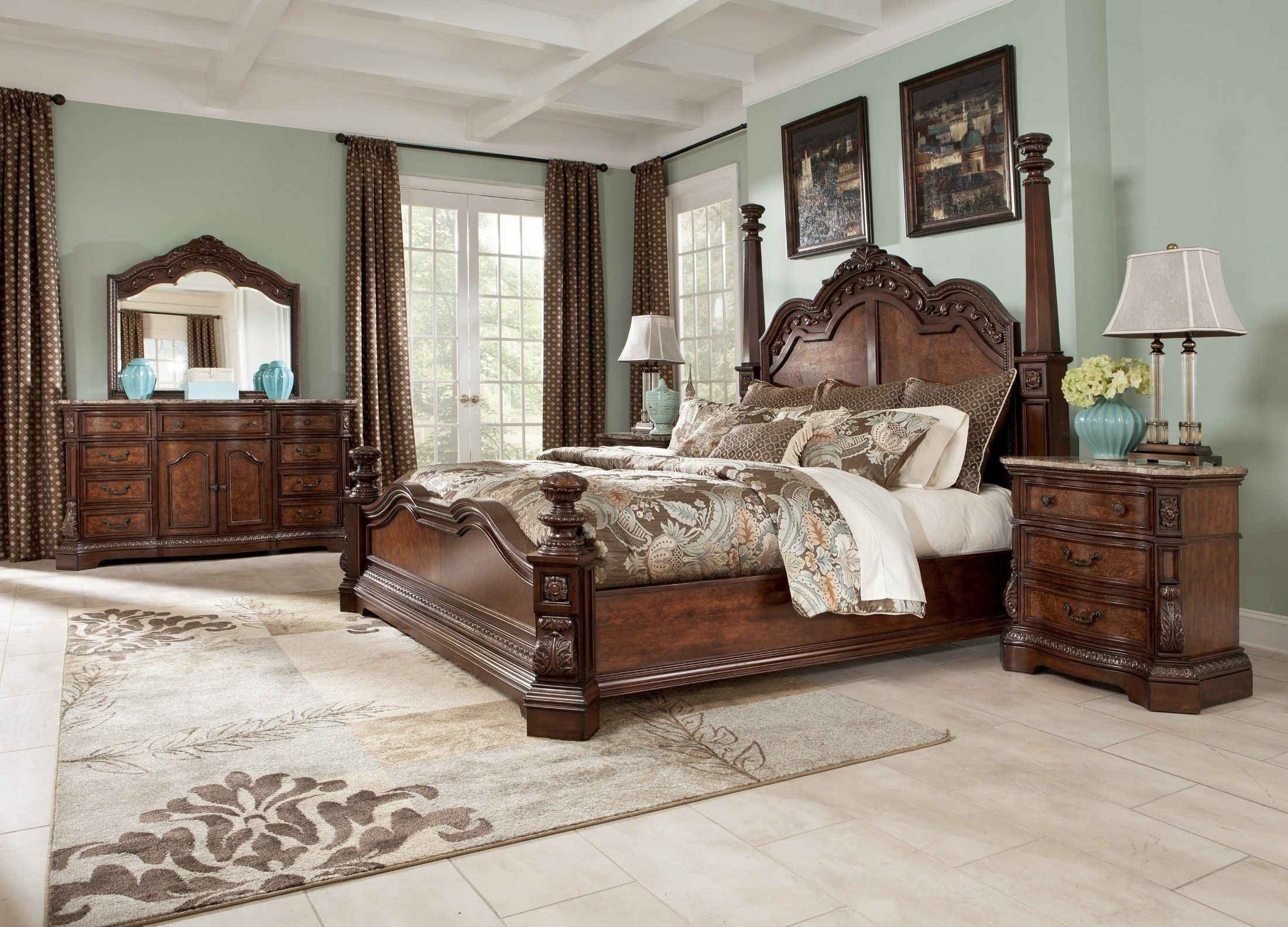 Ashley Millennium Bedroom Set ashley Furniture Cherry Wood 4 Poster Bed