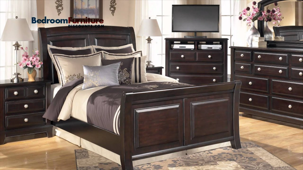 Ashley Millennium Bedroom Set ashley Ridgley 4 Piece Sleigh Bedroom Set In Dark Brown