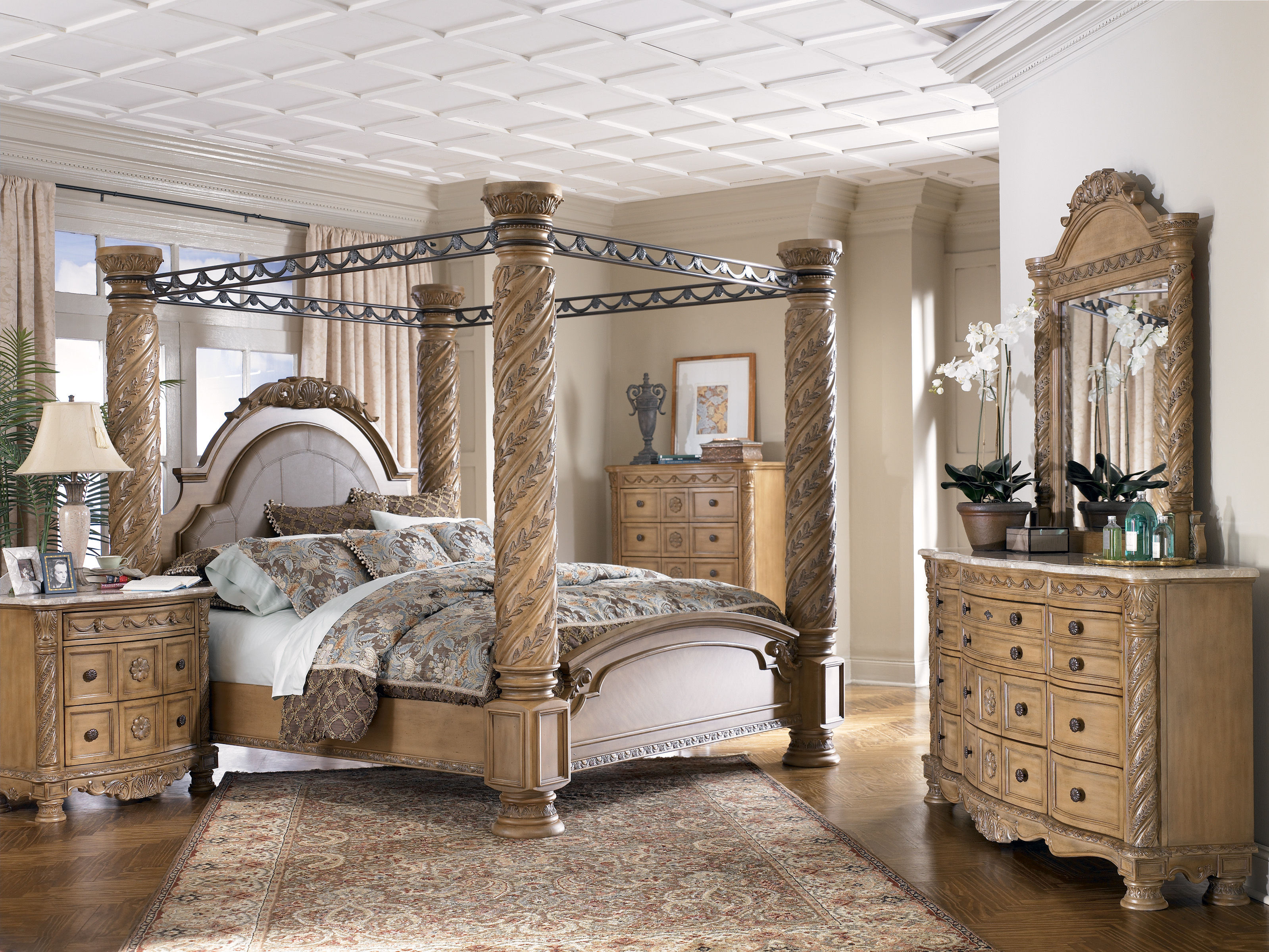 Ashley Millennium Bedroom Set Old World 5 Pc Bedroom Set W King Poster Bed